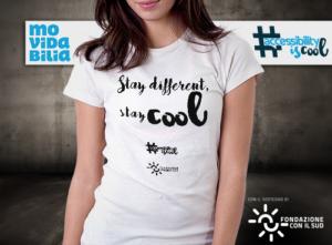 maglietta con scritta Stay different, Stay cool, colore bianco, donna
