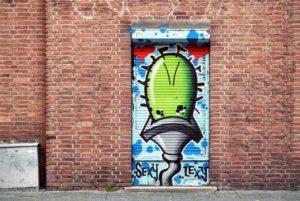 graffiti su una serranda di rotterdam