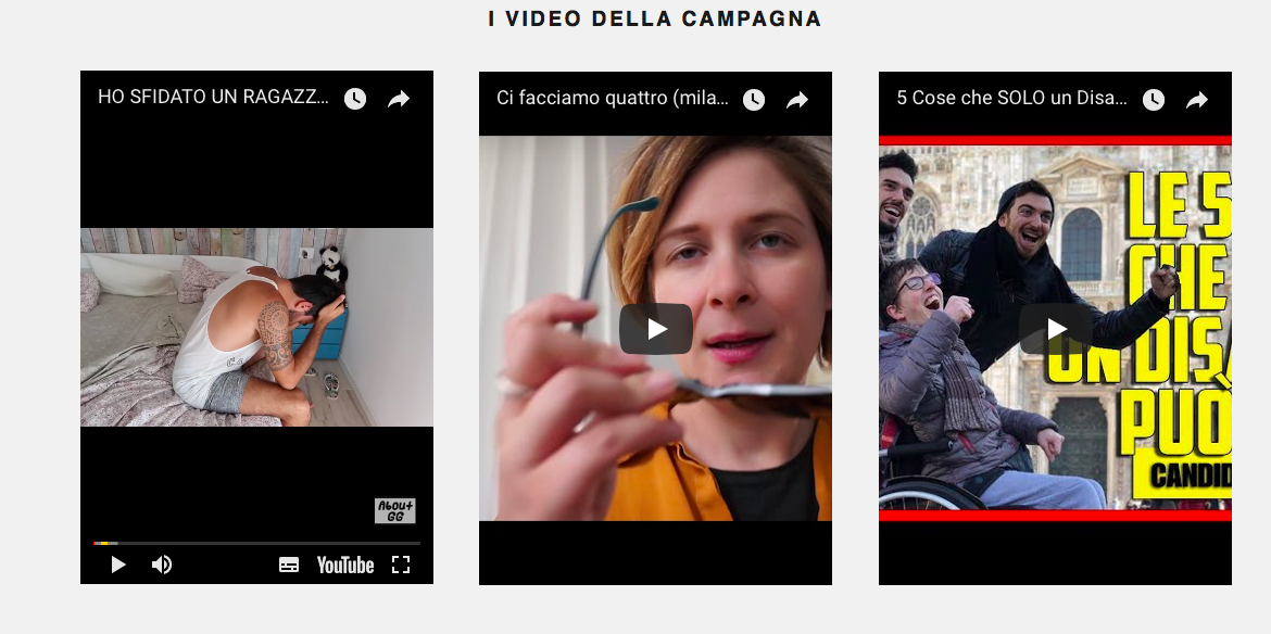 video degli youtuber ideati per la campagna Accessibility is cool - nella home page di www.accessibilityiscool.it, fai uno scroll