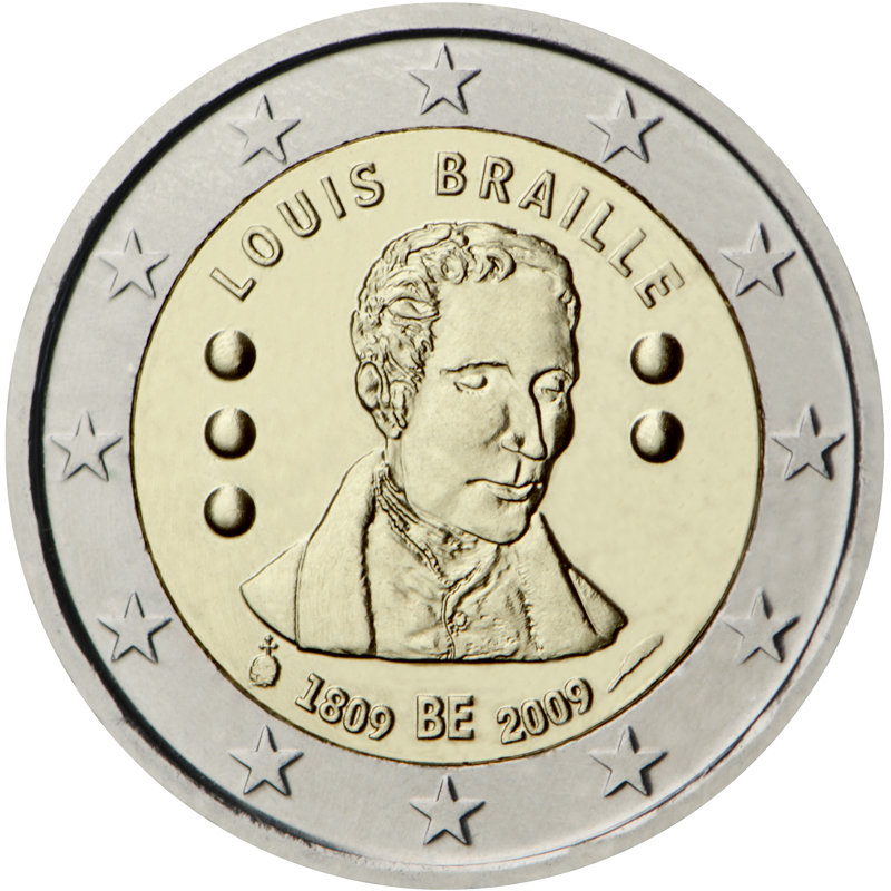"""lato """"testa"""" della moneta da due euro coniata nel 2009 in celebrazione di Braille"""