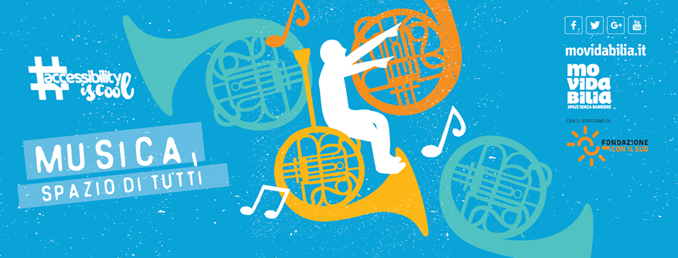 Grafica di Paolo Contaldo per i festival musicali estivi accessibili