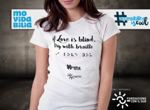 maglietta con scritta If love is blond, try with braille, colore bianco, donna