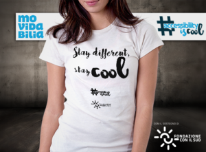 maglietta con scritta Stay different, Stay cool, colore bianco, donna