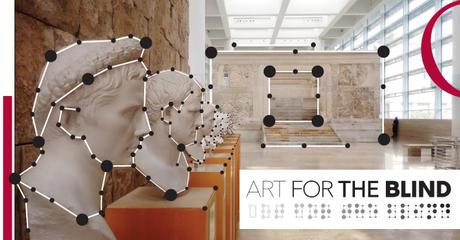"""Busti e percorsi tattili del progetto Art for the blind: foto con punti evidenziati in nero ad indicare la """"toccabilità"""" delle opere"""