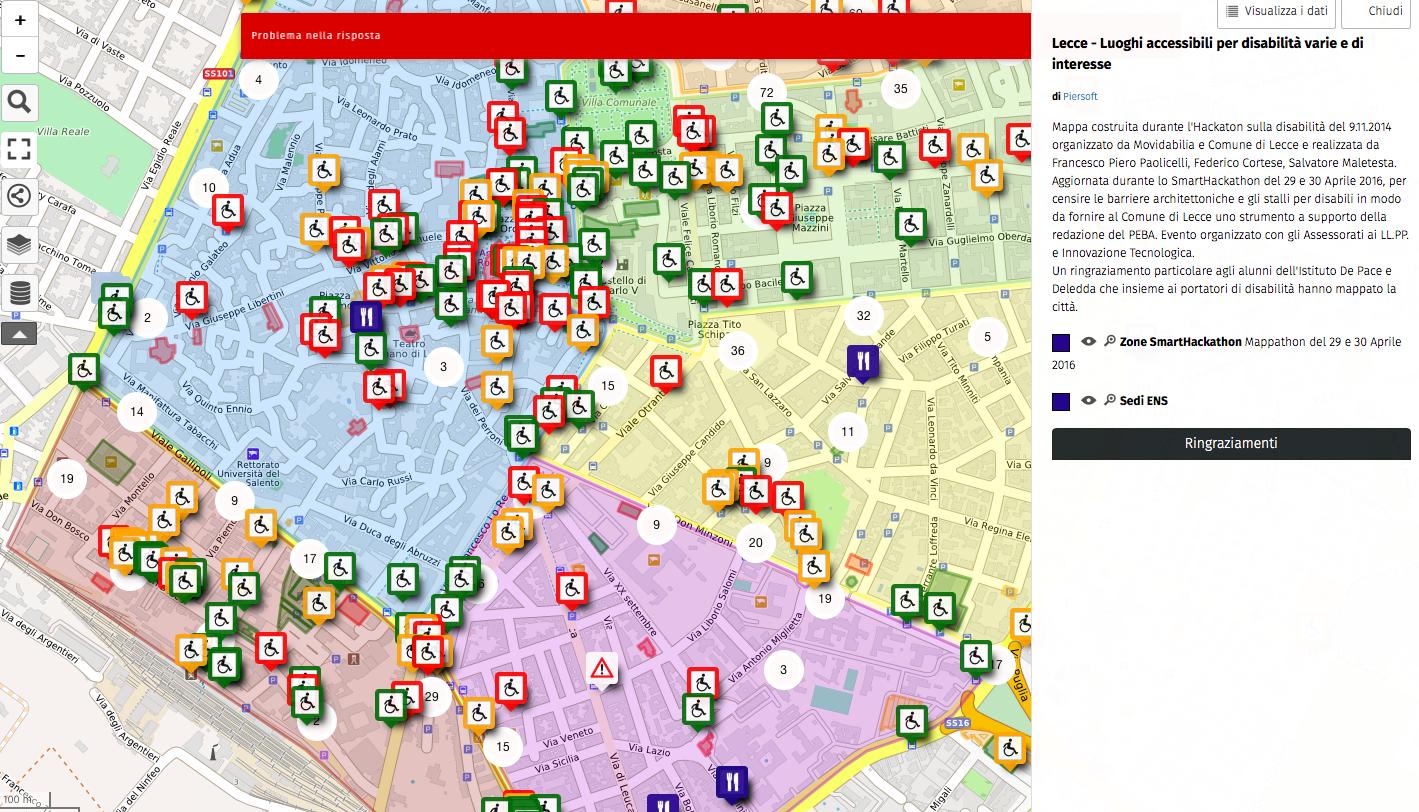 mappa dell'accessibilità di Lecce dall'hackathon La città Accessibile