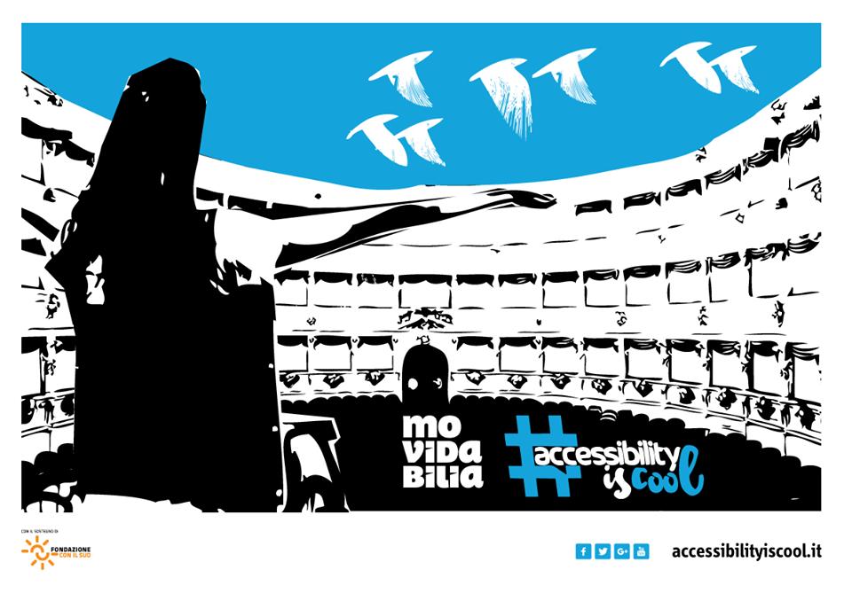 Grafica di Paolo Contaldo per invitare a mappare i teatri accessibili